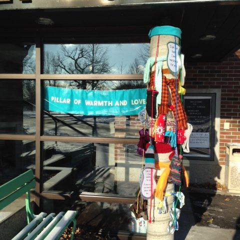 Pillar of Warmth - hats, gloves and scarves available for passers-by who need them
